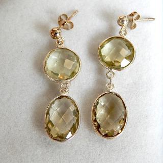 Double drop Lemon Quartz and Silver Earrings
