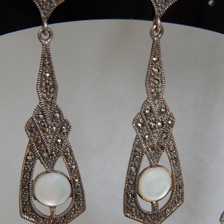 Art Deco Marcasite, Mother of Pearl  & Silver earrings
