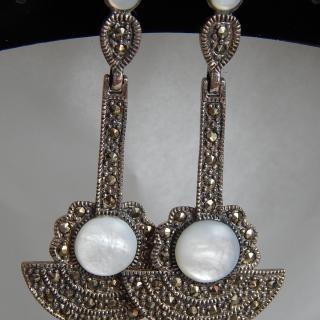 Art Deco Silver and Marcasite Fan earrings