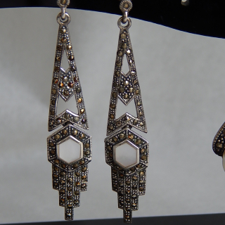 Stunning Art Deco Earrings in Silver and Marcasite