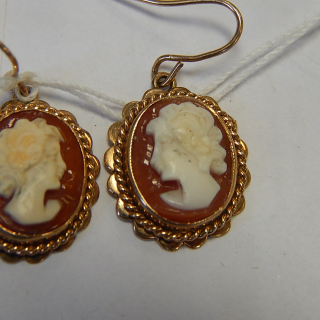 Rose gold and Cameo drop earrings