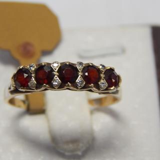 9ct Gold Garnet and Diamond London Bridge Ring