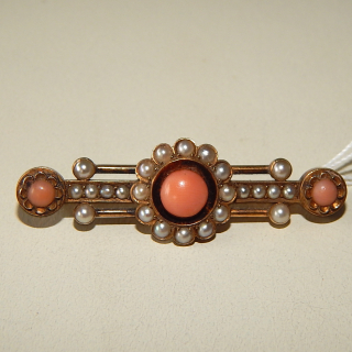 Antique Pink Coral, Seed Pearl and Gold Bar Brooch.