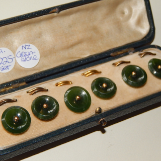 Boxed set of 6 NZ Greenstone Antique Studs