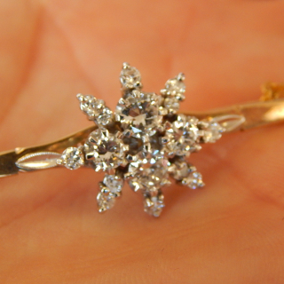 Gold and Diamond Large cluster Bar Brooch