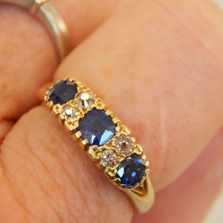 Very Solid 18ct Gold Sapphire and Diamond Ring