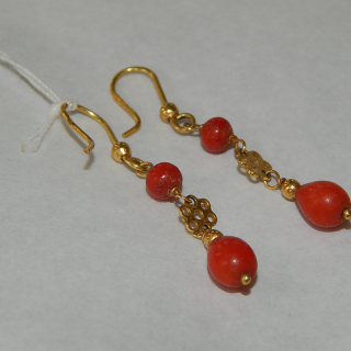 Antique Gold and Coral drop earrings