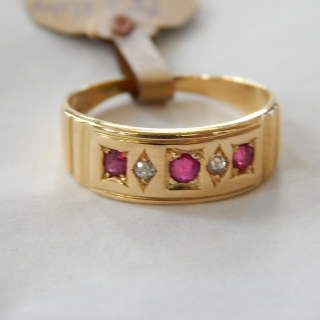 18ct Antique Ruby and Diamond Ring