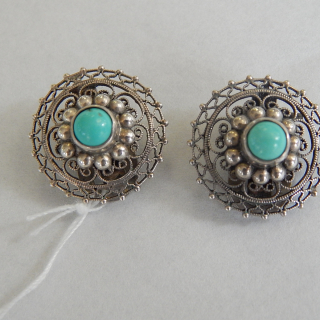 Turquoise and Silver Vintage Clip on earrings