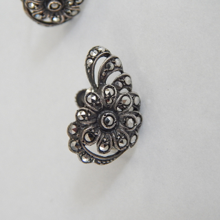Sterling Silver and Marcasite Screw on FLOWER earrings