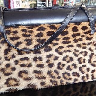 Leather and CHEETAH Vintage Hand Bag