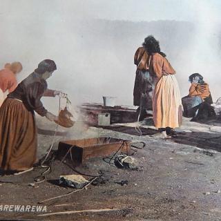 NZ Photo F.T Series. Maoris cooking, WHAKAREWAREWA