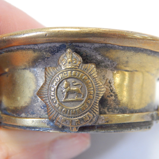 Trench Art Brass Hat container The WORCESTER REGIMENT