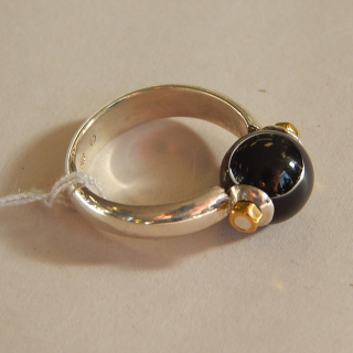 MVB Onyx and silver bead ring