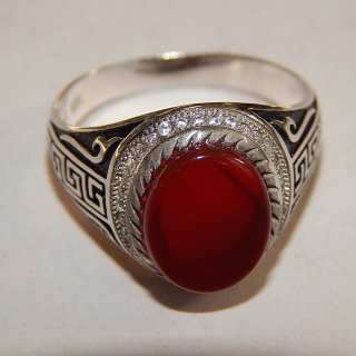 Gents Sterling Silver and Carnelian Ring