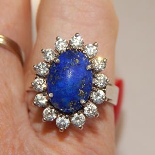 Sterling Silver & Lapis Ladies vintage Dress Ring