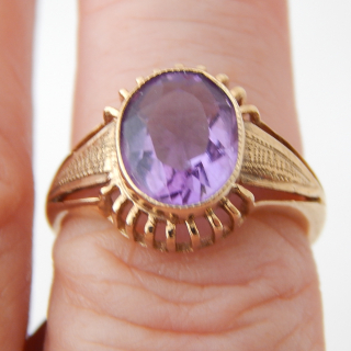 Amethyst and 9ct Gold Deco Styled Dress Ring