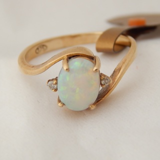 Solid Milk OPAL, Diamond and 9ct Gold ring