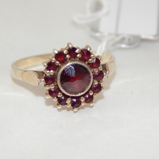 Gold Plated  .830 silver and Garnet Cluster RING