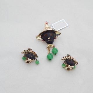 1950's Clip on Earring and Brooch set