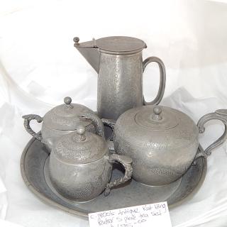 1800's Antique KUT HING Swatow Pewter 5 piece TEA SET