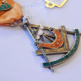 1957 Sterling Silver and Enamel Masonic Lodge Medal
