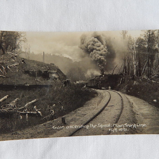 NZ Postcard. Train ascending the Spiral Main Trunk Line