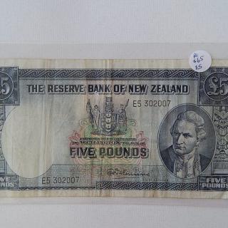 Fleming Five Pound NZ Banknote 1956-67