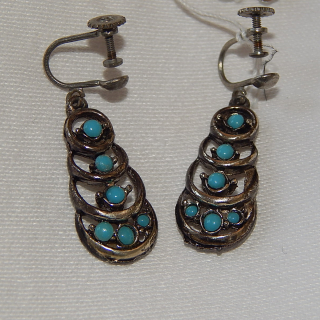 Imitation Turquoise screw on earrings