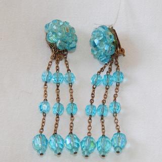 Vintage Teal Blue drop earrings