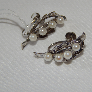 Sterling Silver and Cultured Pearl Leaf Screw on earrings