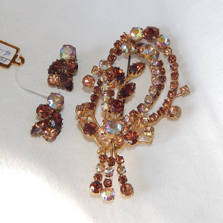 Diamantee Brooch and Clip on Earring SET