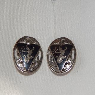 Siam Silver Black Clip on Earrings