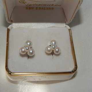 Silver and Cultured Pearl screw on Earrings