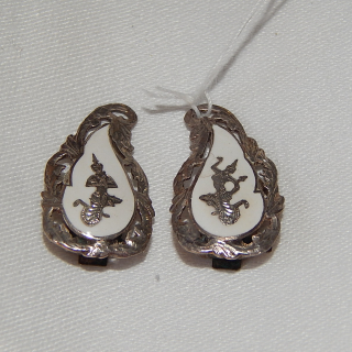 Siam Silver White Clip on Earrings