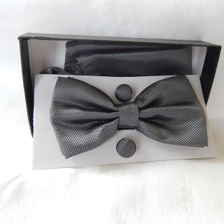 Grey Bow Tie, Pocket Square and Cufflink set