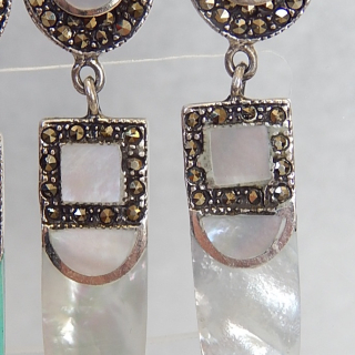 Art Deco Styled Mother of Pearl and Silver earrings