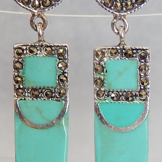 Turquoise and Marcasite Silver Deco earrings