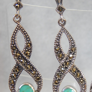Turquoise, Marcasite and Silver Earrings