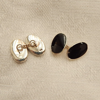 New Sterling Silver and Onyx Cuff Links