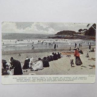 Antique SURF BATHING AT MANLY Australia Postcard