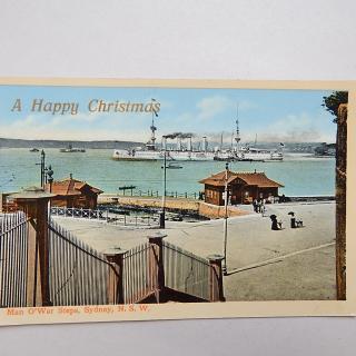 Man O'War Steps, Sydney Postcard. With Steam Ship.