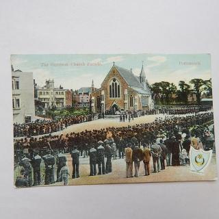 The Garrison Church Parade, Portsmouth postcard 1907