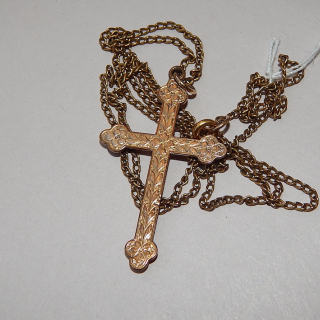Antique rolled gold Cross and plated chain