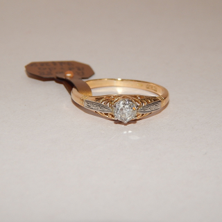 Antique 18ct and old Cut Diamond Solitare Ring, Val $2850