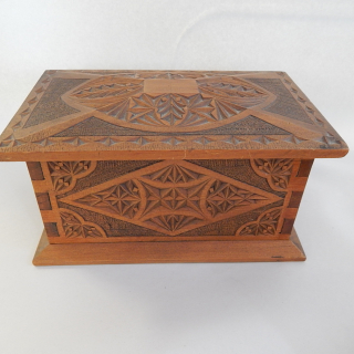 Antique NZ Made, Carved Wooden Box