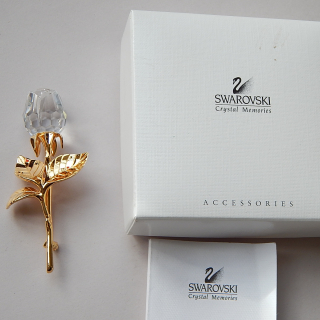 SWAROVSKI Gold plated Rose Brooch