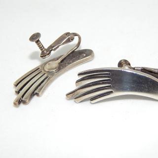 Sterling Silver M.V.B Stylised HAND clip on earrings