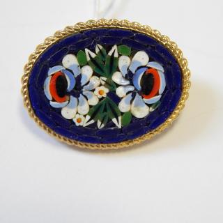 Small Navy Blue Mosaic BROOCH