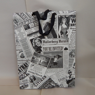 12 Black & White newspaper gift bags